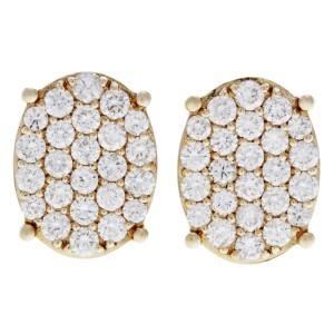 Rachel Koen Diamond Pave Stud Cluster Oval Shape Earrings