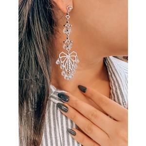 Rachel Koen Aquamarine And Diamond Chandelier Drop Dangle Earrings in White Gold