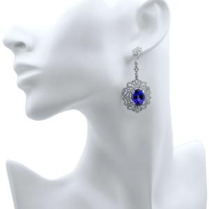 Rachel Koen Tanzanite Diamond Chandelier Drop Earrings 18K White Gold