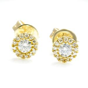 14K Yellow Gold Diamond Halo Stud Earrings 0.24cttw