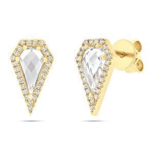 14K Yellow Gold Pave Diamond 0.12cttw White Topaz 1.20cttw Earring