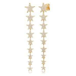 Rachel Koen 14K Yellow Gold Pave Diamond Star Drop Earrings 0.51cttw