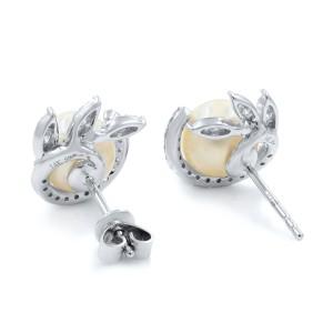 14K White Gold Fresh Water Natural Pearl Diamond Stud Earrings 0.42cttw