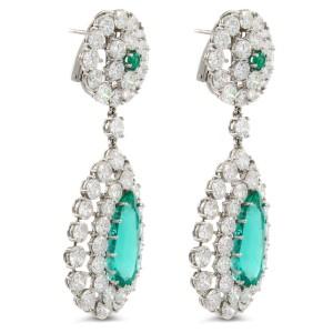 Rachel Koen 15.00cttw Emerald and Diamond Drop Dangling Chandelier Earrings