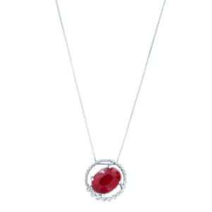 Rachel Koen 14K White Gold Ruby 7.00cttw Diamond 0.50cttw Necklace