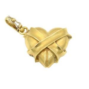 Rachel Koen 14K Yellow Gold Solid Heart Pendant with Diamonds 1.00cttw