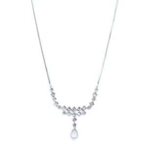 Rachel Koen Pear Round and Carre Diamonds 2.25cttw Necklace 18K White Gold