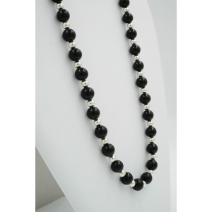 Tiffany & Co. Vintage Sterling Silver Black Onyx Bead Necklace 31in