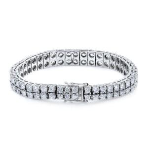 Rachel Koen 14K White Gold Two Row Diamond Tennis Style Bracelet  11cts