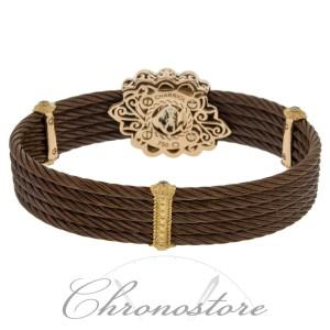 Charriol Celtique 5 Row Nautica Cable 18K 750 Petra Gold Diamond Bronze Bracelet