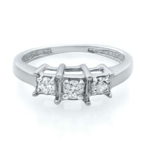 Rachel Koen 14K White Gold Diamond Three Stone Engagement Ring 0.50ct Size 4.5