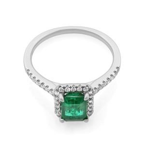 Rachel Koen 18K White Gold Green Emerald Diamond Halo Engagement Ring 1.02cts