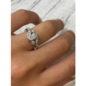 Rachel Koen 14K White Gold 0.60cttw Diamond H SI1 Two Piece Set Ring SZ5.5