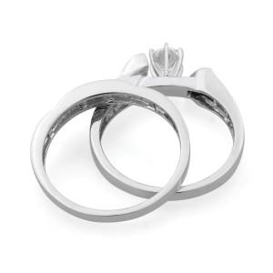 Rachel Koen 14K White Gold 0.75cttw Diamond Ring Two Piece Ring Set SZ7.25