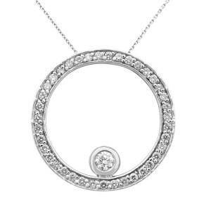 Rachel Koen 18K White Gold Open Circle Diamond Pendant 1.38cts