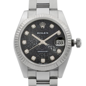 Rolex Datejust 31 Steel Diamond Black Jubilee Dial Automatic Ladies Watch 178274
