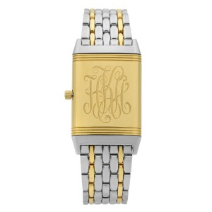 Jaeger-LeCoultre Reverso Steel 18K Gold Silver Dial Quartz Mens Watch 250.5.08