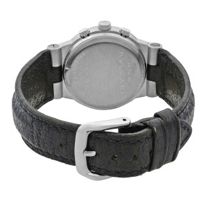 Bulgari Diagono 18k White Gold Black Dial Quartz Unisex Watch CHW35G