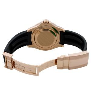 Rolex Yacht-Master Custom Rainbow Bezel Black Dial Everose Gold Watch 116655