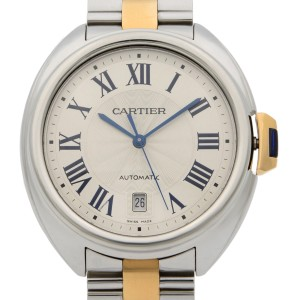 Cle De Cartier 18k Rose Gold Steel Silver Guilloche Automatic Men Watch W2CL0002