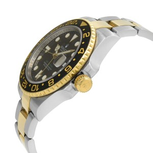 Rolex GMT-Master II Steel 18K Yellow Gold Black Dial Automatic Mens Watch 116713