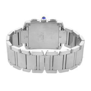 Cartier Tank Francaise Chronoflex Steel Silver Dial Quartz Mens Watch W51001Q3