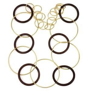 Fabulous 18k Yellow Gold & Wood Large Circle Link Necklace