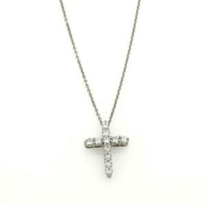 Tiffany & Co. Diamond Platinum Small Cross Pendant & Chain