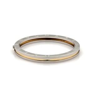 "Bvlgari B Zero-1 Steel 18k Yellow Gold Engraved Bangle Bracelet 6.25"""
