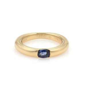 Cartier Ellipse Oval Sapphire 18k YGold Dome Band Ring Size 50 -US 5.25