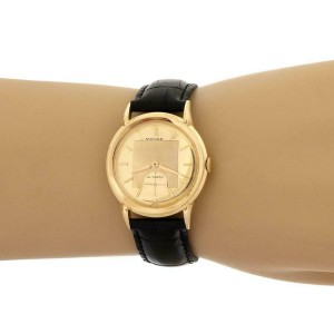 Movado Vintage Automatic Cal.115 18k Gold Leather Band Men's Watch 8443