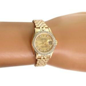 Rolex Oyster Date Just Diamond Bezel & Dial 18k Gold Ladies Watch 69178