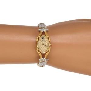 65264Carrera y Carrera Diamond Pearls 18k Gold Oval Wrist Watch Quartz Case Cert