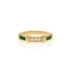 Cartier Contessa 1/2 Circle Diamond Emerald 18k Gold Band Size 49-US 5 Cert