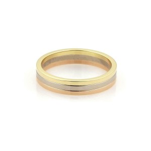 65267 Cartier 18k Tricolor Gold Triple Stack Band Ring Size EU 66-US 11.75 Cert
