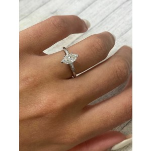 Rachel Koen Platinum Marquise 1.15cttw Diamond Engagement Ring SZ6