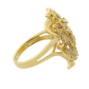 Rachel Koen 18K Yellow Gold Large Floral Diamond Cocktail Ring 0.75cttw