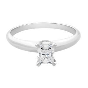 Rachel Koen 14K White Gold Emerald Solitaire Engagement Ring 0.30cttw Size 6.75