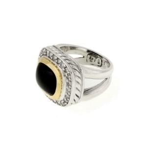 David Yurman Albion Diamond Onyx 18k Gold 925 Silver Ring Size 5.75