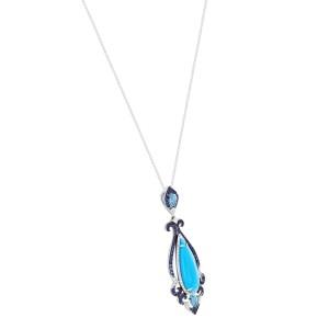Rachel Koen White Gold Diamond Sapphire Drop Pendant 14K White Gold