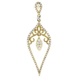 Rachel Koen Yellow Gold Diamond Drop Delicate Pendant 0.42cttw 14K Yellow