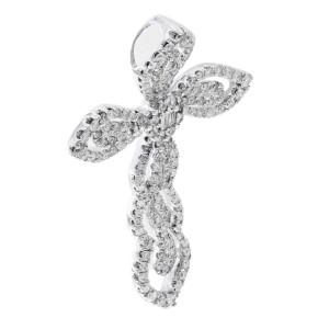 Rachel Koen Pave Diamond Cross Pendant 0.60cttw 18K White Gold