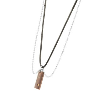 Bliss by Damiani Brown Stainless Steel 18K Gold Uomo Diamond Pendant Necklace