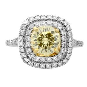 Rachel Koen 18K White Gold Round Cut Fancy Yellow Diamond Engagement Ring 1.13ct