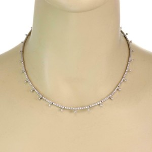 Elegant 2carat Diamond 18k White Gold Fancy Choker Necklace