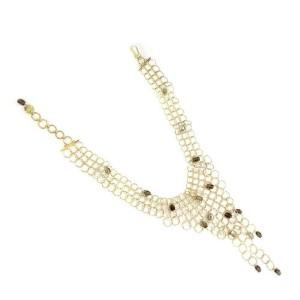Gucci Smoky Topaz 18k Yellow Gold Circle Links Bib Necklace