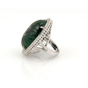 Estate 18K White Gold 82ct Carved Jade & Diamond Cocktail Ring