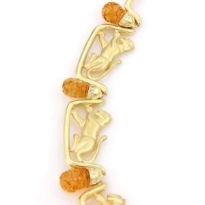 Estate 18kt Yellow Gold Diamond & Citrine Leopard Necklace