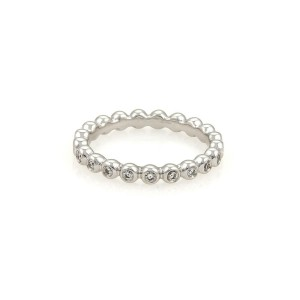 Georg Jensen Diamond 18k White Gold Eternity Wedding Band Ring Size EU 52-US 6