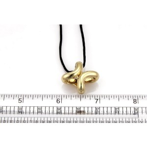 """Hermes 18k Yellow Gold Fancy """"H"""" Pendant & Cord Necklace Toggle Clasp"""